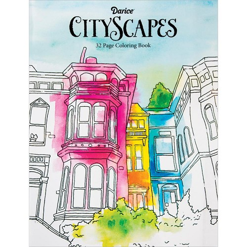 37454 Darice Coloring Book Cityscapes.