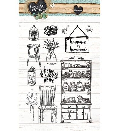 37827 Studio Light  A6 Clearstamp Sheet Love & Home 125.