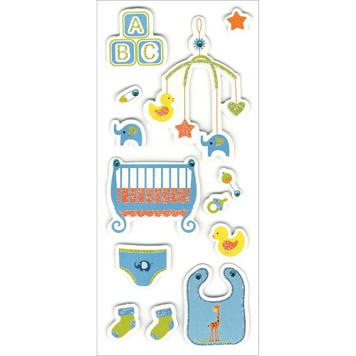 "38062 MultiCraft Homemade Glitter Stickers 3""X6.5"" Sheet Sweet Baby Boy."