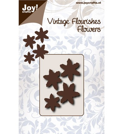 38126 Joy Crafts Cutting Vintage Flourishes Bloem Blad 6 Punt (6003/0066).