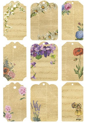 38178 KP0038 Vintage Toppers A4 Cutouts Flower Tags.