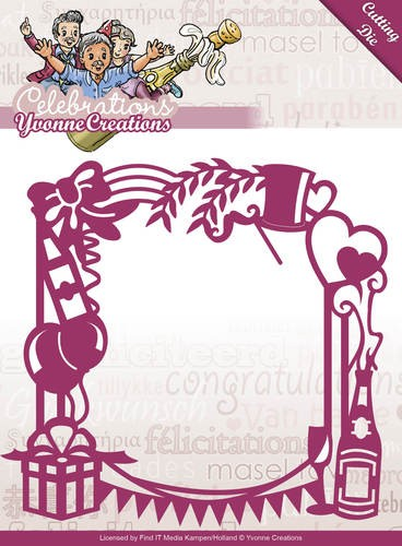 38205 Die - Yvonne Creations - Celebrations - Party Frame 12,5x12,5 cm (YD10051).