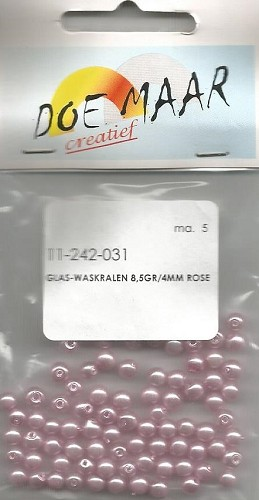38310 Doe Maar Glas-waskralen 20 gr/10 mm Rose.