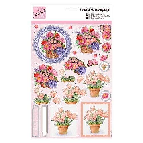 38372 Foiled Decoupage - Spring Tulips A4.