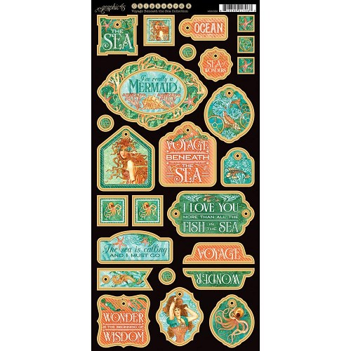 38440 Graphic 45 Voyage Beneath The Sea 15,2x30,5 cm Chipboard Die-Cuts Decorative.