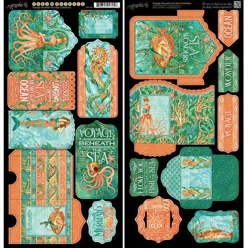 38442 Graphic 45 Voyage Beneath The Sea 15,2x30,5 cm Cardstock Die-Cuts Sheets 2/Pk Tags & Pockets.