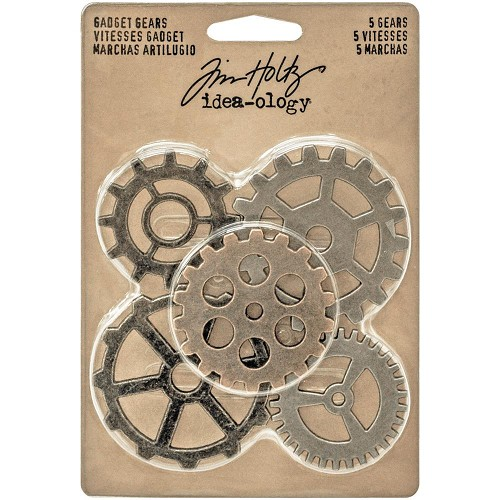 "38484 Tim Holtz Idea-Ology Metal Gadget Gears 1.5"" To 2"" 5/Pkg Antique Nickel, Brass & Copper (TH932"