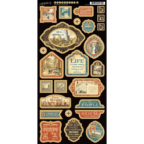 38497 Graphic 45 Cityscapes Coll. Chipboard Die-Cuts 15x30,5 cm.