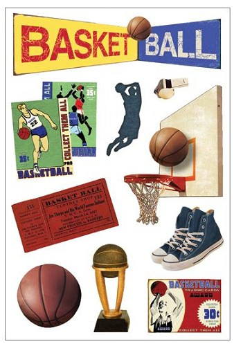 38603 Momenta Foam Stickers Vintage Basketball.