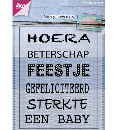 38684 Joy Crafts Clearstamps Merys Woorden  82 x 105mm (6410/0401).