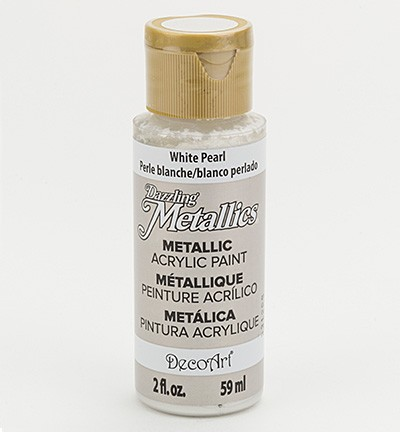 38787 Deco Art Dazzling Metalics Flesje 59 ML White Pearl (DA117).
