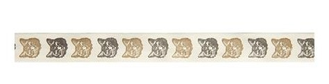 39035 Ivory Print Ribbon Cats 20mm x 1 Meter.