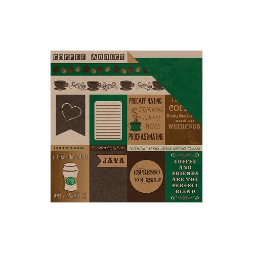 39069 Moxie Coffee Addict Dubbelz. Papier 30,5x30,5 cm Coffee Cutouts.