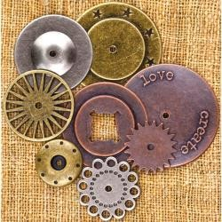 "39073 Prima Sunrise Sunset Mechanicals Metal Vintage Trinkets By Finnabair Washers #1, 1"" To 2"", 8/P"