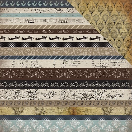 39159 Carta Bella Dubbelz. Papier 30,5x30,5 cm Old World Travel - Border Strips.