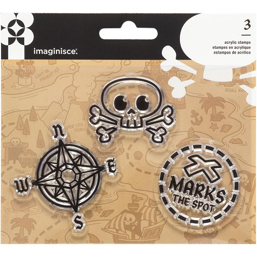 39189 Imaginisce Par-r-rty Me Hearty Acrylic Stamps 3/Pkg Pirate.