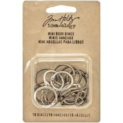 "39757 Tim Holtz Idea-Ology Mini Book Rings .75"" 18/Pkg Silver, Antique Brass & Antique Copper."
