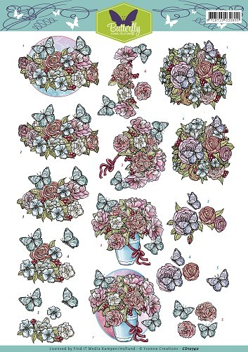 40144 Yvonne Creations - Butterfly - Flowers (CD10740).