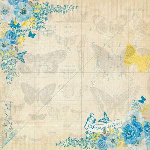 40213 Authentique Felicity Double-Sided Paper 30,3x30,5 cm One, Butterfly & Floral/Corner Design.
