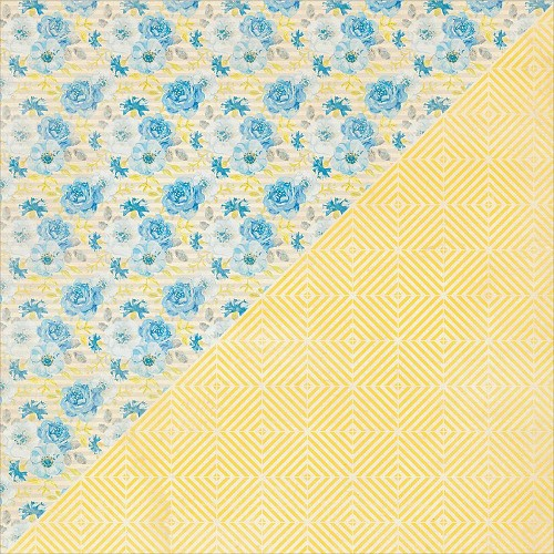40214 Authentique Felicity Double-Sided Paper 30,3x30,5 cm Two, Blue Floral Bunch/Yellow Diamond.