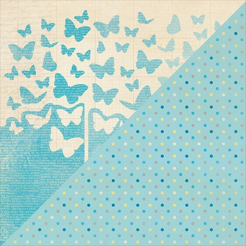 40215 Authentique Felicity Double-Sided Paper 30,3x30,5 cm Three, Blue Ombre Butterfly/Multi Dot.