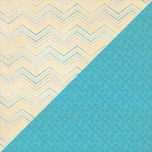 40217 Authentique Felicity Double-Sided Paper 30,3x30,5 cm Five, Dotted Chevron/Blue Mini Butterfly.