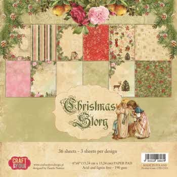 "40445 Craft & You Design CHRISTMAS STORY Small Paper Pad 6x6"", 36 sheets (190gsm)."