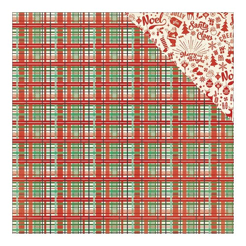 40754 Authentique Retro Christmas Dubbelz. Papier 30,5x30,5 cm Two, Square Color Plaid/Words & Icons