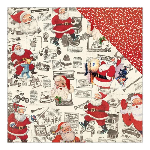 40755 Authentique Retro Christmas Dubbelz. Papier 30,5x30,5 cm Four, Newspaper Clips/Candy Cane Patt