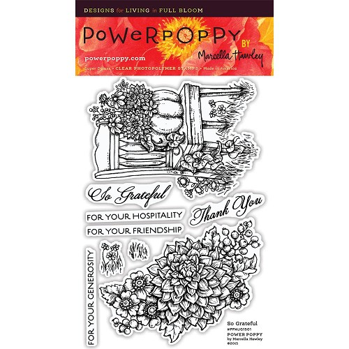 "40760 Power Poppy Clear Stamps 4""X6"" So Grateful."