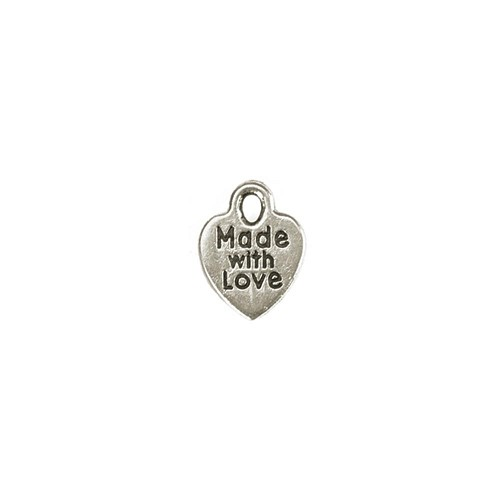 40857 Darice Metal Charms 75/Pkg Silver Made With Love.