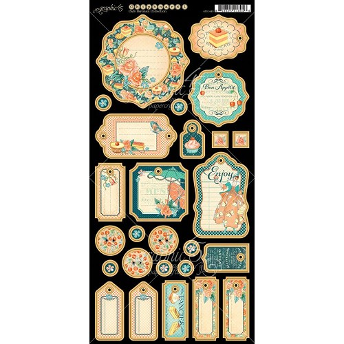"40890 Graphic 45 Cafe Parisian Coll. Chipboard Die-Cuts 6""X12"" Sheet Journaling (4501440)."