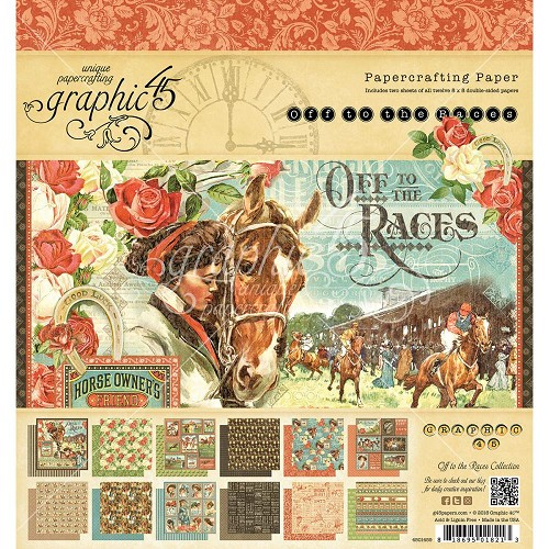 "40895 Graphic 45 Off To The Races Double-Sided Paper Pad 8""X8"" 24/Pkg (4501459)."