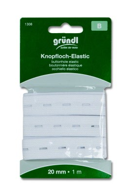 41214 Knoopsgaten Elastiek 20mm x 1m Wit (1308).