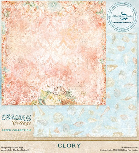41443 Blue Fern Studios Seaside Cottage Dubbelz.Papier 30,5x30,5 cm Glory.