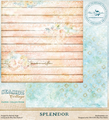 41445 Blue Fern Studios Seaside Cottage Dubbelz.Papier 30,5x30,5 cm Splendor.