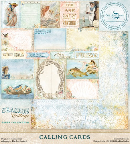 41446 Blue Fern Studios Seaside Cottage Dubbelz.Papier 30,5x30,5 cm Calling Cards.