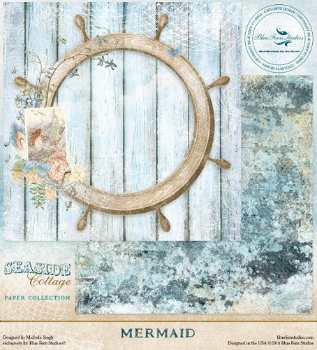 41448 Blue Fern Studios Seaside Cottage Dubbelz.Papier 30,5x30,5 cm Mermaid.