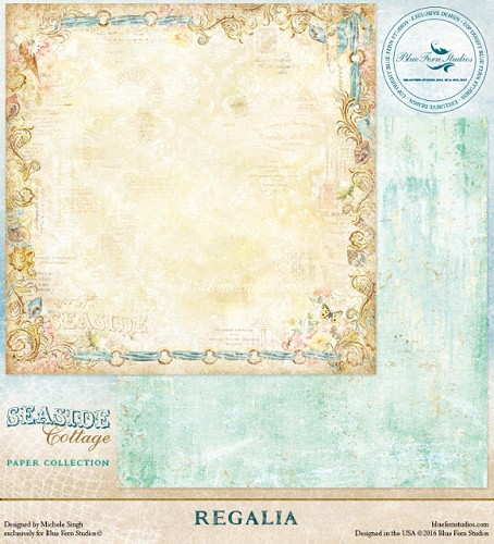 41449 Blue Fern Studios Seaside Cottage Dubbelz.Papier 30,5x30,5 cm Regalia.