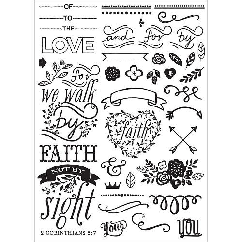 42230 Prima Marketing Love, Faith, Scrap Planner Cling Stamps Elements Sheet 12x17 cm (589868).