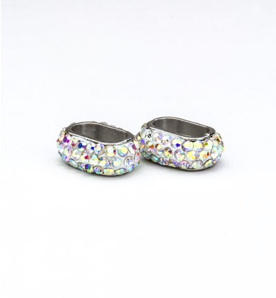 42501 Clay Beads with Strass 12x6mm AB White (12351-5103).