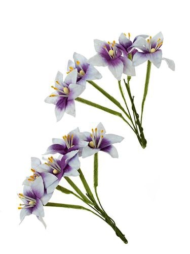 42721 Scrapberrys Stemmed Lily 10 pcs in a pack White & Purple.