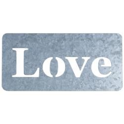42965 Jillibean Soup Mix The Media Galvanized Stencil Love Word 10x21 cm.