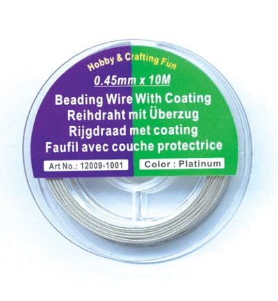 43277 Hobby Crafting Fun Rijgdraad met Coating, Silver 10mtr x 0.45mm (12009-1001).