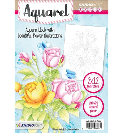 43311 Studio Light Aquarel Blok 2 A5, 24 Illustrations / 240grs.