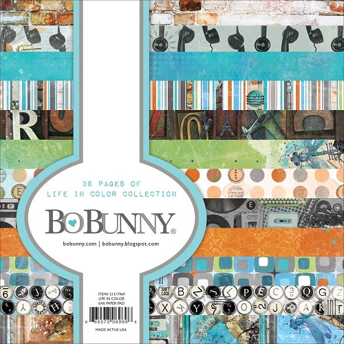 "43326 Bo Bunny Single-Sided Paper Pad 6""X6"" 36/Pkg Life In Color, 12 Designs/3 Each."