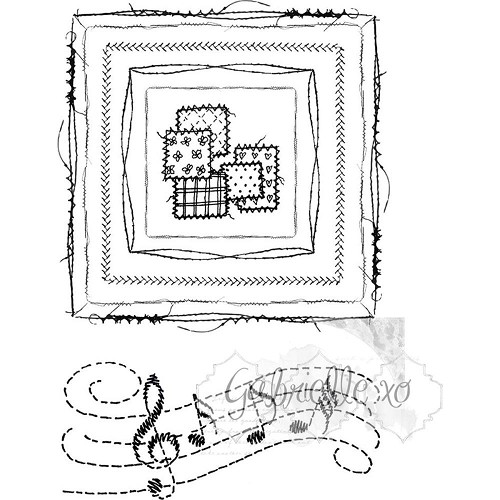 43349 - 49 and Market Clear Stamps 10,5x14,5 cm Gabi`s Square Stitch.