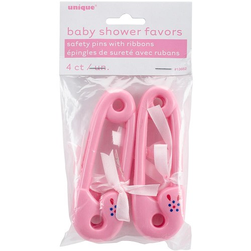 43382 Party Favors 4/Pkg Pink Baby Pins 4x12 cm.