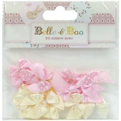 43463 Trimcraft Belle & Boo II Mini Bows 16/Pkg Satin Polka Dots/Light Yellow & Pink.