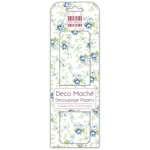 43816 First Edition Deco Mache Paper 26x37,5cm  3/Pkg Navy Roses.